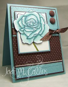 Stamps: Fifth Avenue Floral Paper: Baja Breeze, Chocolate Chip, Whisper White… Sympathy Cards, Greeting Cards, Beautiful Handmade Cards, Tampons, Copics, Paper Cards, Flower Cards, Creative Cards, Cute Cards
