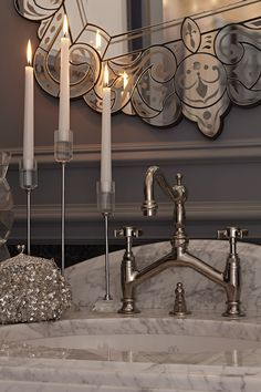 Designer Regina Sturrock incorporates DXV products into an elegant and classic bathroom inspired by the story of Anna Karenina. Folk Victorian, Victorian Farmhouse, Victorian Bathroom, Old Folks, Anna Karenina, Classic Bathroom, Faucet, Door Handles, Chandelier