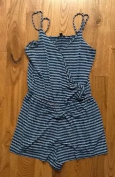 AMERICAN EAGLE BURGUNDY HUNTER GREEN STRIPED ROMPER SIZE SMALL #AmericanEagleOutfitters #Romper