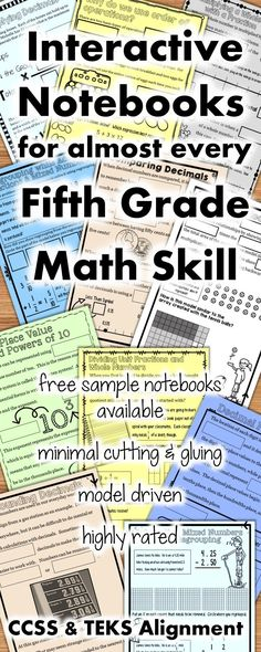 5th Grade Math Interactive Notebook   Fractions Decimals Graphing Place Value Multiplication Division  Order of Operations