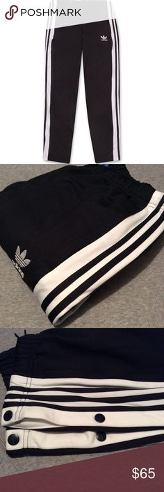 Men's Adidas Tearaway Snap Track Pants - Large Amazing Adidas Originals Snap Track Pants - Mens BR2232 Size L. New. Never worn. Makes a great gift. Perfect condition. NWT. Make an offer! Make it yours! No flaws. Snap up sides of legs. These tearaway track pants combine modern style with sporty heritage details, with a tapered leg and buttons that ride down the side seams. Iconic 3-Stripes run along the waistline to the hem, while a trefoil logo rests on your left hip.for that special…