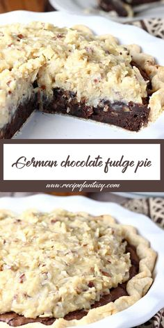 INGREDIENTS 1 unbáked pie crust cup butter stick), melted 1 cup s. Chocolate Fudge Pie, Chocolate Desserts, German Chocolate Pies, Coconut Chocolate Pie Recipe, Chocolate Pie Recipes, Sweet Recipes, Cake Recipes, Dessert Recipes, Quiche Recipes