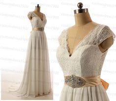White/Ivory Lace Wedding Dress Handmade Chiffon by customdress1900