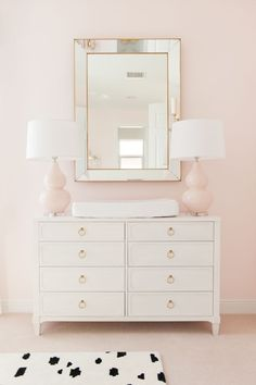 the Nursery with Palm Beach Lately - Project Nursery Feminine Pink and Gold Nursery - gorgeous changing table and styling!Feminine Pink and Gold Nursery - gorgeous changing table and styling! Baby Bedroom, Baby Room Decor, Nursery Room, Bedroom Decor, Nursery Ideas, Nursery Mirror, Nursery Lamps, Kids Bedroom, Master Bedroom