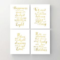 Set of 4. Harry Potter Print. Printable Poster. Happiness. Choice. Dwell. Albus Dumbledore Quote. Gold Wall Print. Inspirational Art Print. by MyPrintableDream on Etsy