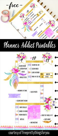 Free Planner Addict Printable Stickers- Roses and Feathers - Free Pretty Things For You {newsletter subscription required}