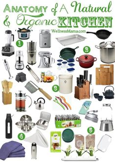 Natural Kitchen Essentials List Most Used Tools & Appliances is part of cooking Kitchen Health - My essential natural kitchen items, cooking tools and health appliances for my natural and organic kitchen Also great ideas for a wedding registry list Wedding Registry List, Kitchen Utensils, Kitchen Appliances, Kitchen Goods, Kitchen Cabinets, Kitchen Essentials List, Apartment Essentials, Kitchen Necessities, Bare Necessities