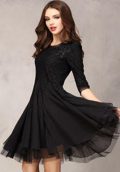 Black Plain Seven's Sleeve Ankle Wrap Lace Dress - Mini Dresses - Dresses