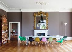 Someday dining room. Table Chairs mirror wall color molding