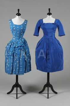 Blue cocktail dresses, mid 1950s. Electric blue with bow detail by Susan Small