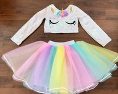 Kids Outfits Girls, Girls Fashion Clothes, Kids Fashion, Girl Outfits, Cute Outfits, Unicorn Fashion, Unicorn Outfit, My Little Pony Dress, Cute Baby Costumes