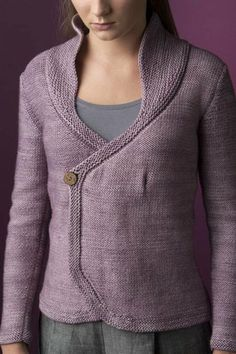 High-Collar Wrap Cardigan - Media - Knitting Daily