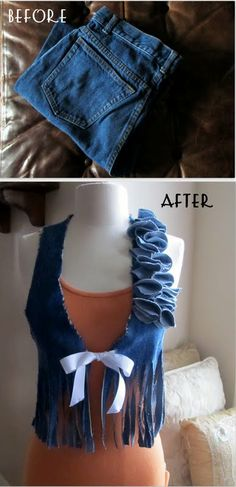 Re-Style old denim into a vest