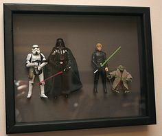 Action figure shadow box for the kids rooms.  What a great idea!
