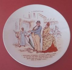 RARE ANTIQUE FRENCH MAJOLICA PLATE OF LUNEVILLE KG - A L EXPOSITION