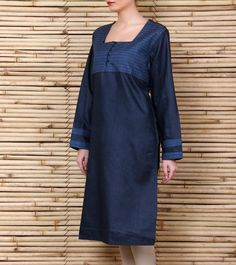 Blue #silkkurta with kantha work. kantha is the traditional running stitch.