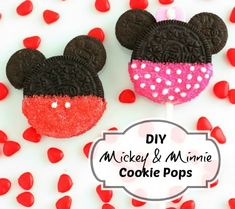 Mickey and Minnie Mouse Cookie Pops - preschool birthday treats