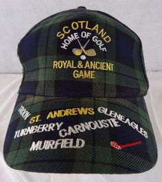 SCOTLAND HOME OF GOLF Green Plaid BASEBALL HAT Velcro Adjustable Cap  #Scotland #GolfHat