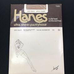3c6c26a8ba0 VTG Hanes Ultra Sheer Pantyhose Nude Heel Reinforced Toe Little Color Sz  Plus F  Hanes