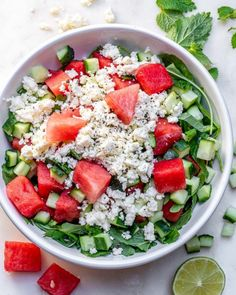 Eat Clean and Hydrate with this Watermelon + Feta Salad | Clean Food Crush Fruit Recipes, Clean Eating Recipes, New Recipes, Healthy Recipes, Salad Recipes, Clean Meals, Healthy Salads, Holiday Recipes, Favorite Recipes