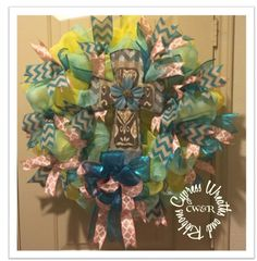 Spring Time Wreath with Metal and Wood Cross $65