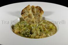 Zuppa di ceci, broccolo romano, farro, acciughe e pecorino
