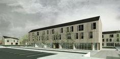 OPERASTUDIO - Project - Social housing in Switzerland - view #render #spring #housing #nopeople