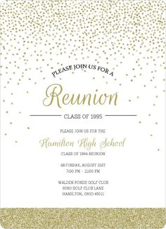 Gold Glitter Class Reunion Invitation by InviteShop.com. #reunioninvitations #reunionideas #10yearrenunion