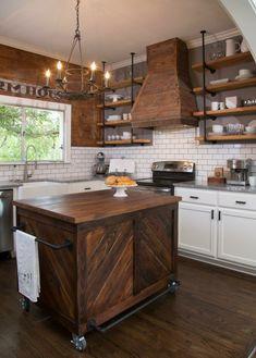 cocinas rusticas diseños isla acero muebles