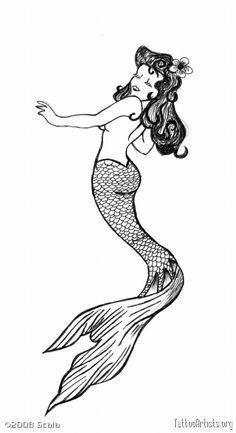 Simple Mermaid Tattoo Design