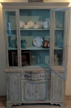 French Country Vintage Hutch Painted in Paris Grey