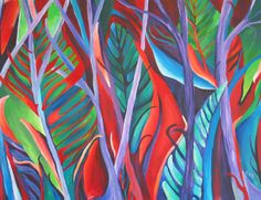 Roz Edwards, A painting called Jewel colour Jungle!! I have used the shapes of leaves and trees to create a bright eye catching abstract painting. I have used acrylic paint.