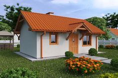 Wizualizacja KP G134 - Budynek letniskowy CE Village House Design, Village Houses, Foreclosed Properties, Small Farmhouse Plans, Cheap Houses, Small House Design, Affordable Housing, Home Fashion, Beautiful Homes
