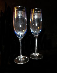 Blue Tinted Etched Flutes