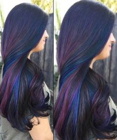 Oil Slick Hair Is the Most Gorgeous Rainbow Hair Color Trend for Brunettes Peacock Hair Color, Hair Color Purple, Cool Hair Color, Peacock Art, Ombre Color, Oil Slick Hair Color, Peekaboo Hair Colors, Creative Hair Color, Underlights Hair