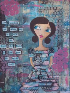 Mixed Media Original Painting Zoe Whimsical by JacquieWilliamson, $150.00