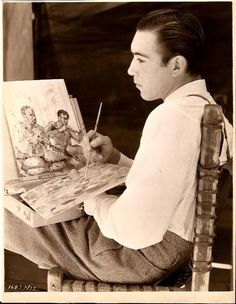 Anthony Quinn 1937, sketching and drawing and getting it ready for a large canvas. Quinn in his later years became more renowned for his art and canvasses than his latter movies. Art was in his blood.