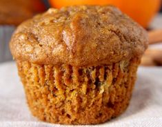 """Pumpkin muffins are classic, especially this time of year, and especially because I keep """"accidentally"""" buying a bigger can of pumpkin than my recipe needs, leaving me to come up with more excuses . Pumpkin Banana Bread, Pumpkin Chocolate Chip Muffins, Cinnamon Muffins, Easy Cake Recipes, Pumpkin Recipes, Cupcake Recipes, Sweet Recipes, Bakery Muffins, Rhubarb Muffins"""