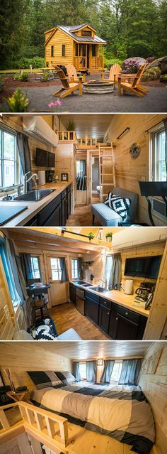 A rugged, modern-style 178 sq.ft. tiny house crafted with cedar plank siding and black trim. Sleeps three people: two in the loft and one downstairs.