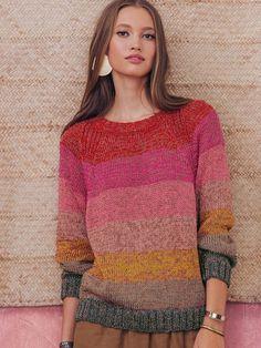 Free Crochet Sweater Pattern For Women Hand Knitted Sweaters, Mohair Sweater, Sweater Knitting Patterns, Knitting Designs, Knit Patterns, Hand Knitting, Handgestrickte Pullover, Summer Knitting, Knitwear Fashion