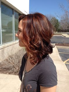 Copper highlights by Taylor at TreVolte Salon auburn hair styles Hair Color Auburn, Auburn Hair, Hair Color For Black Hair, Brown Hair Colors, Auburn Balayage, Balayage Hair, Medium Hair Styles, Short Hair Styles, Hair Highlights