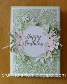 Minty Floral Frames by heather freeman - Cards and Paper Crafts at Splitcoaststampers Handmade Birthday Cards, Happy Birthday Cards, Greeting Cards Handmade, Stamping Up Cards, Paper Cards, Cool Cards, Flower Cards, Kids Cards, Anniversary Cards