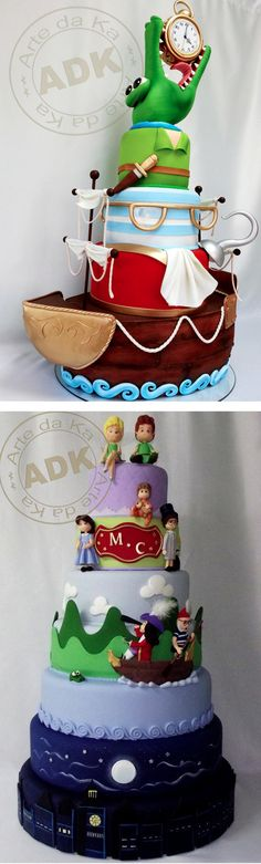 Captain Hook, Smee, and Tick Tock Crock cake