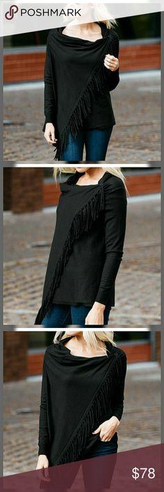 443141fe551 🌠HP🌠❣Black Fringe Cardigan Wrap Sweater❣ Black Cardigan Wrap sweater with  fringe Material  Viscose