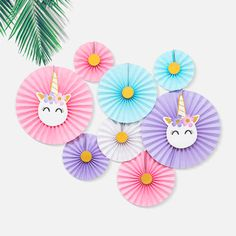 This listing is for a set of 8 easy-to-assemble, pre-folded fans in four different sizes. They are the perfect base to start with when decorating for your next unicorn-themed event!   ~ Item Details ~ - 2 x 20cm fans (1 pink, 1 blue) - 2 x 25cm fans (1 purple, 1 white) - 2 x 30cm fans (1 blue, 1 pink) - 2 x 40cm fans (1 pink, 1 purple, with unicorn cutouts)