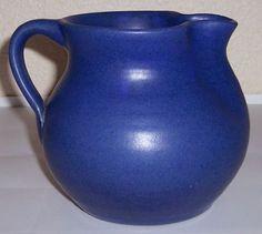 ZANESVILLE STONEWARE POTTERY BLUE WHEEL THROWN PITCHER