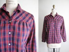 VINTAGE 80s Red & Navy Plaid Blouse