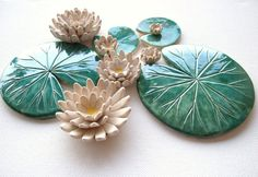 Set of Lily pad coasters and lily flowers by damsontreepottery