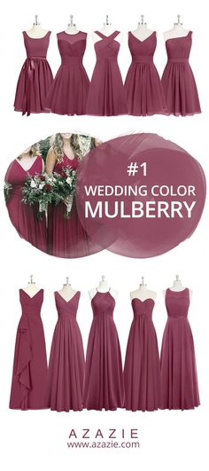 Azazie Mulberry Swatch (in 4 fabrics)  Red, chiffon, mesh, lace, tulle, satin Bridesmaid dress, Wedding, Wedding gown