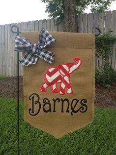 Alabama elephant Burlap personalized garden by StitchedsoSweet, $27.00